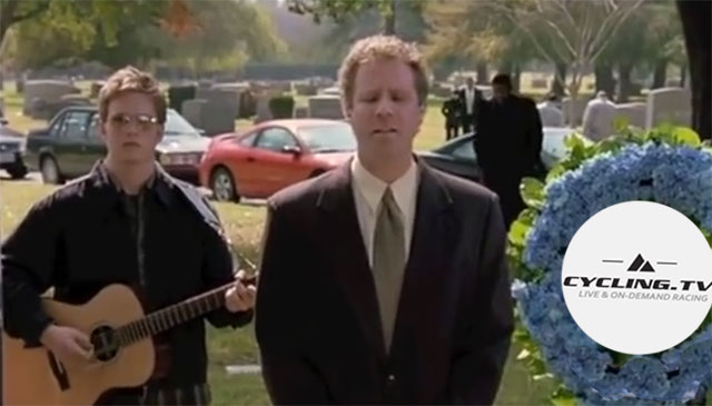 Will Farrell sings at a fanciful funeral for cycling.tv